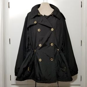 Micheal Kors Black/Gold Hooded Trench
